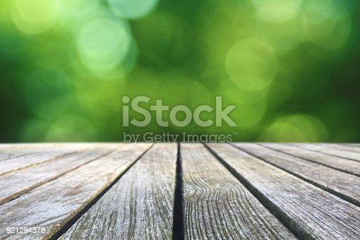 1048926386 istock photo Wood Picnic Table Texture Over Green Spring Nature Background 921294378