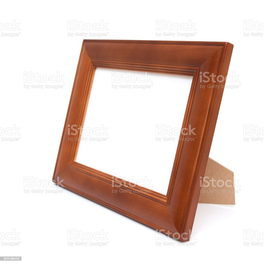 Wood Picture Frame isolated on white background stock photo