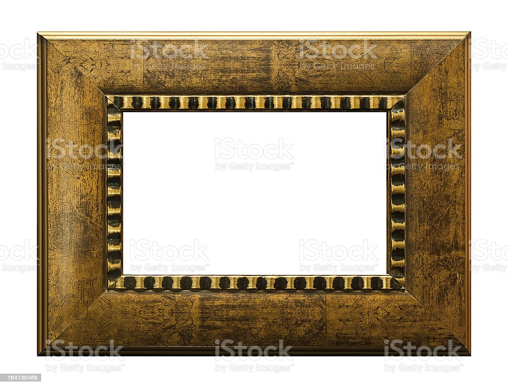 Wood picture frame on blank royalty-free stock photo