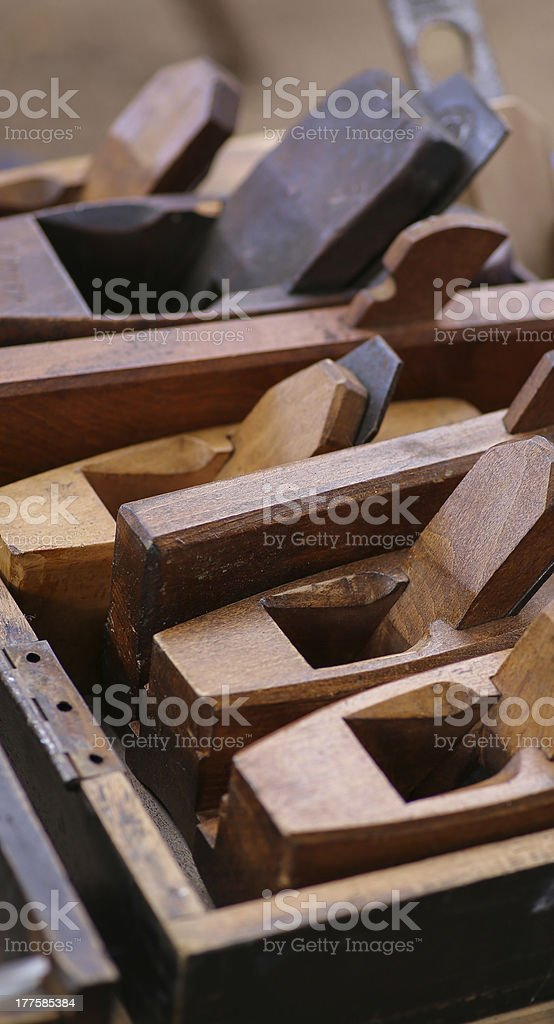 Wood Planes in Box stock photo