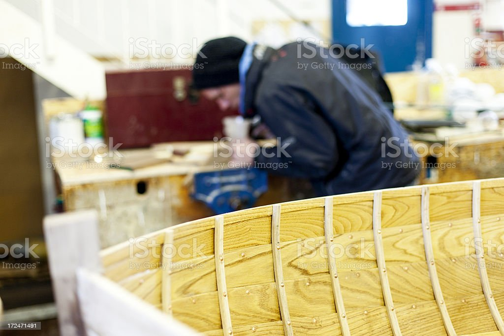 Wood planing, boat building royalty-free stock photo