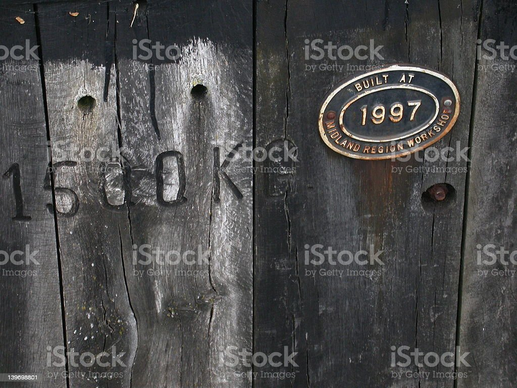 Wood planking with letters and plate royalty-free stock photo