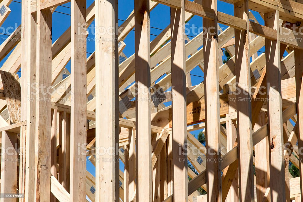 Wood planks of single family home construction stock photo