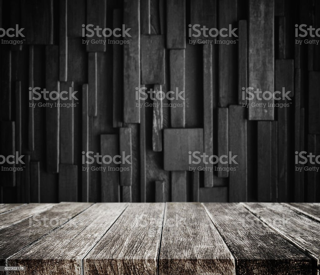 Wood Planks Tabletop With Dark Wood Background Stock Fotografie Und