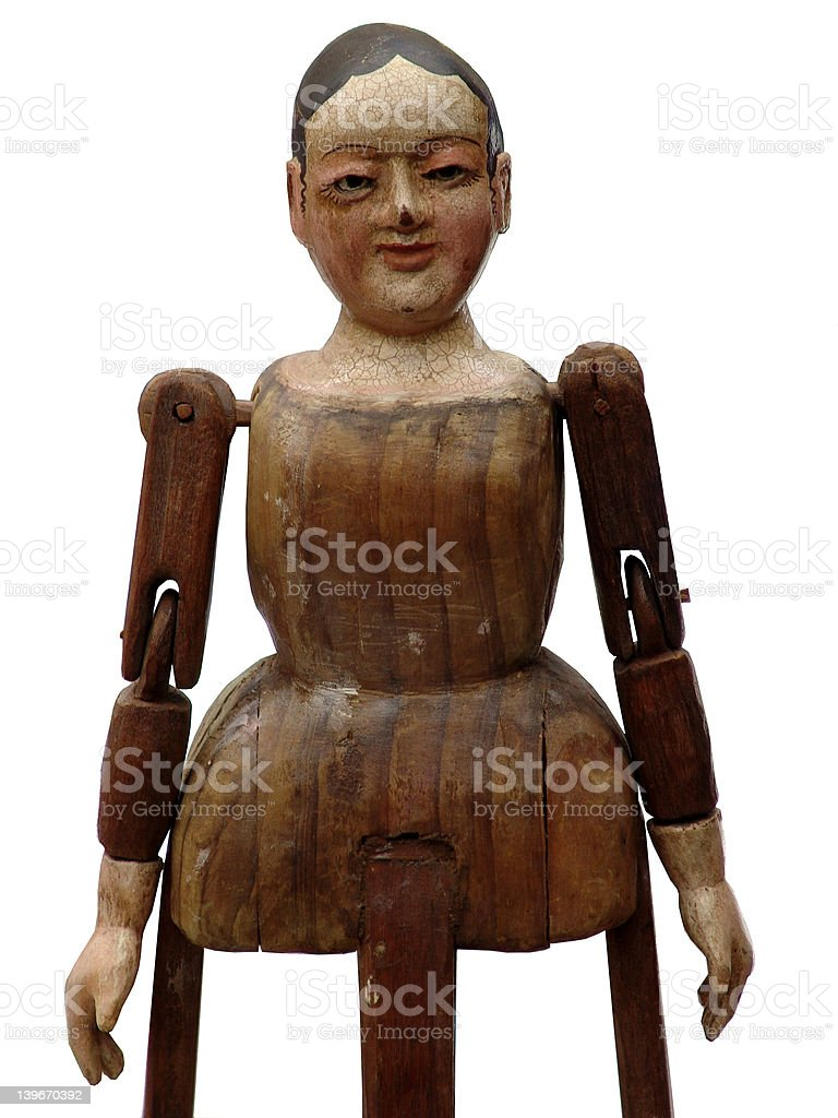 wood puppet doll stock photo