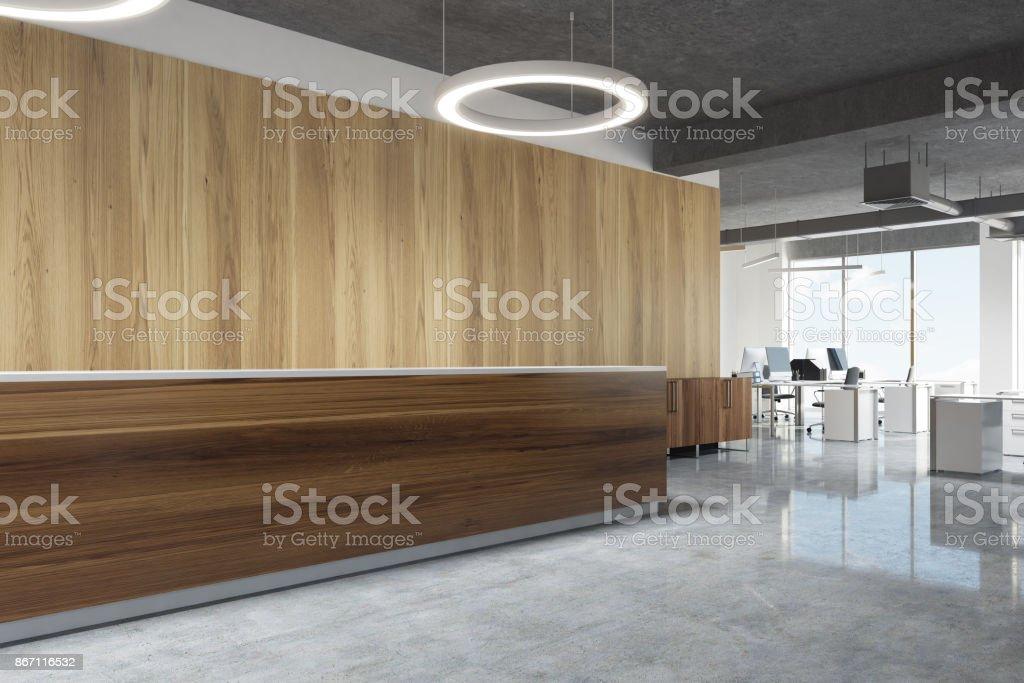 Holzrezeption In Runde Lampe Büro Seitenansicht Stock-Fotografie und ...