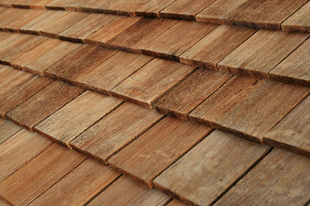 wood roof shingles stock photo