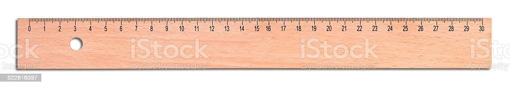 Wood ruler stock photo