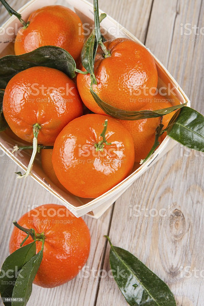 wood rustic crate full of clementine mandarin oranges royalty-free stock photo