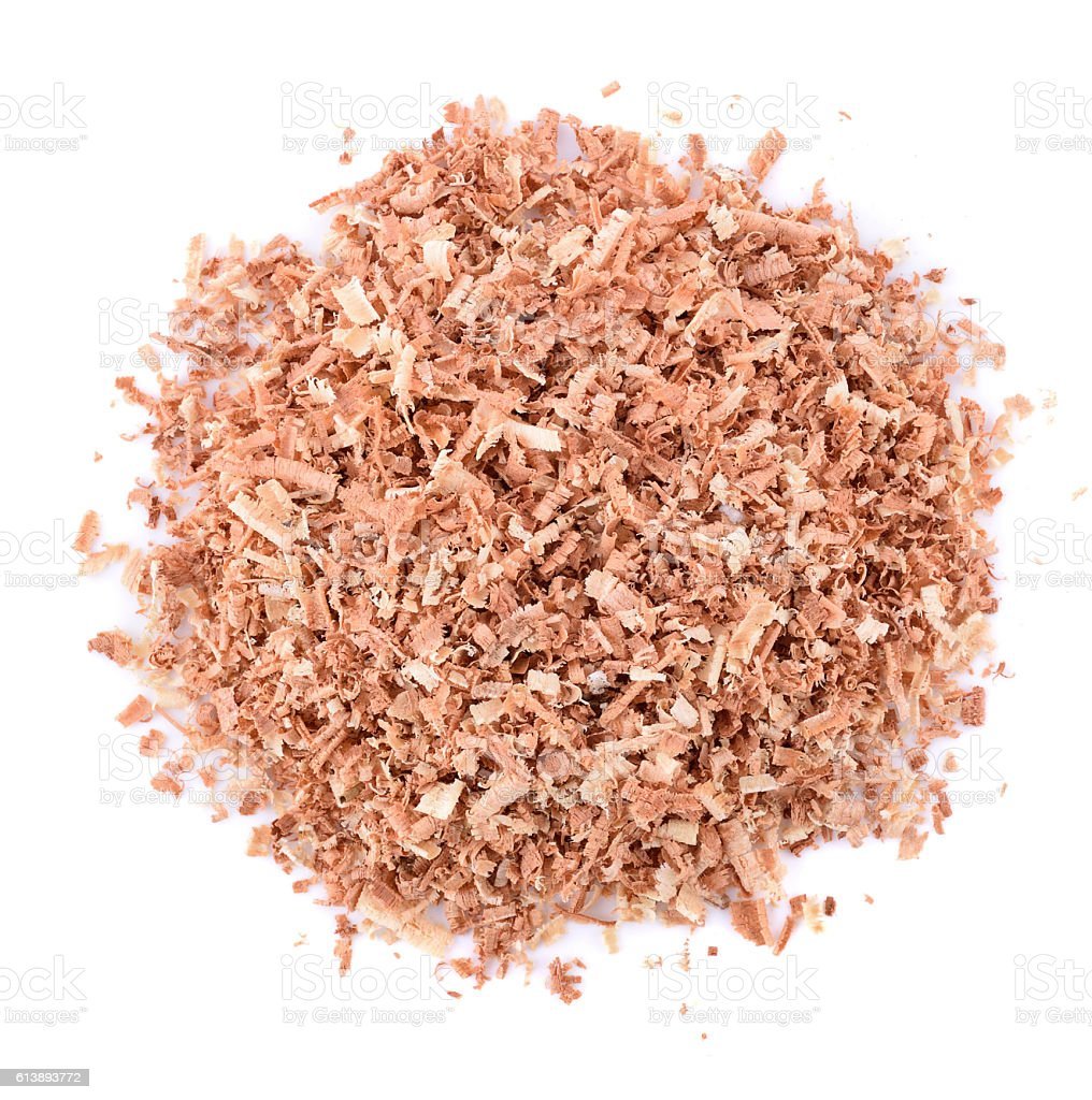 Wood Sawdust on white background stock photo
