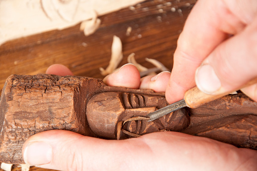 Wood sculpting in linden wood