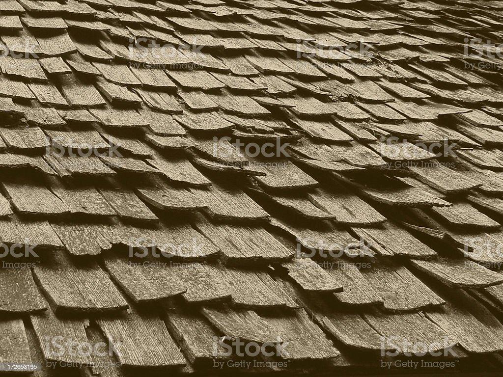 Wood Shake Roof in Sepiatone royalty-free stock photo