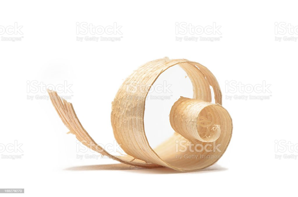 Wood shaving/curl close up #13-isolated on white stock photo
