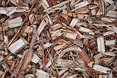 Wood shavings macro, close up timber chips, texture.
