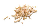 Wood shavings, sawdust on white background