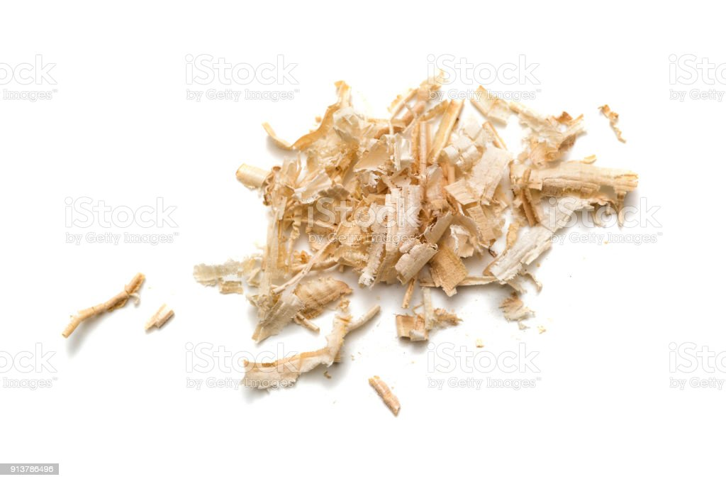 Wood shavings, sawdust stock photo