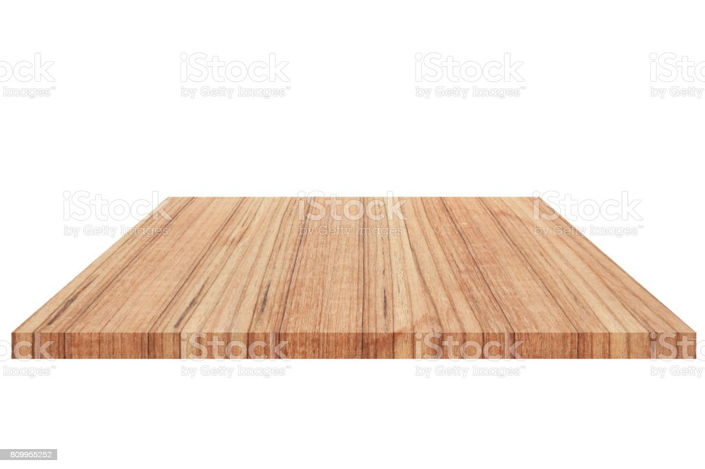 wood  Shelf  Isolated on white background and Clipping path stock photo