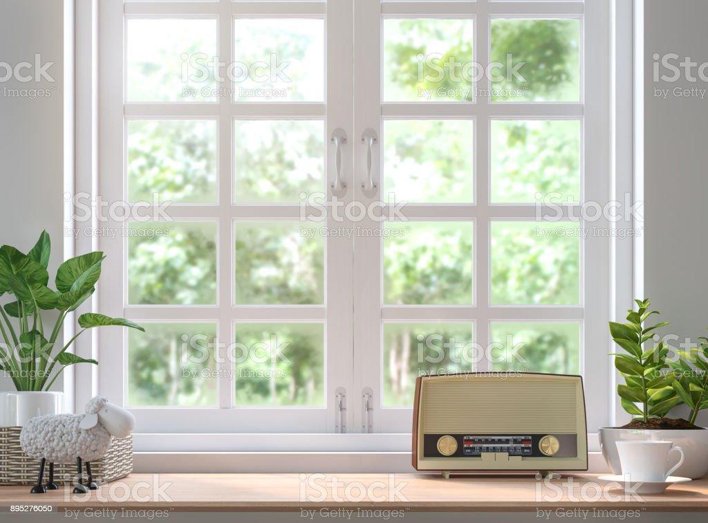 Estante de madera situado junto a la ventana 3d renderizado de imagen foto de stock libre de derechos