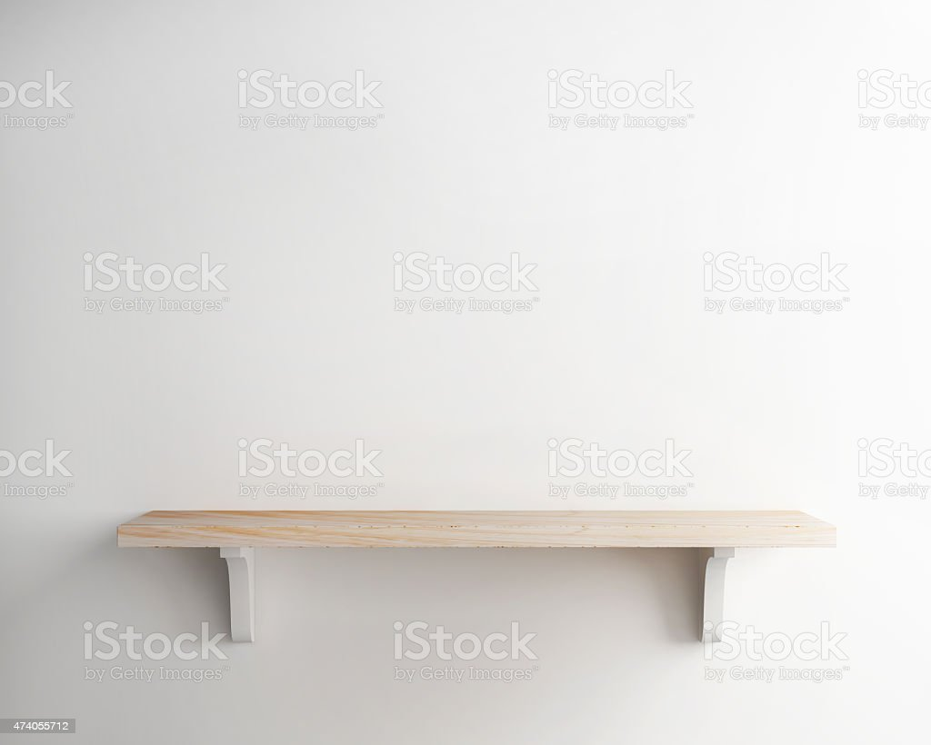 wood shelf on white wall background stock photo