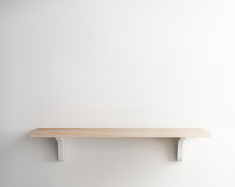 Wood Shelf On White Wall Background Stock Photo - Download Image Now