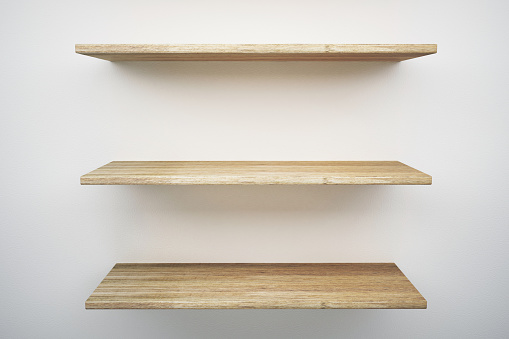 Wood Shelf On White Wall Stock Photo - Download Image Now