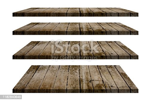 Wood shelves table top collection isolated on white background. Clipping path include in this image.