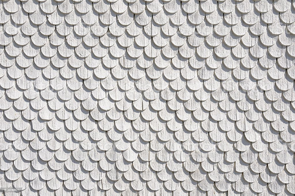 Wood shingle wall circular pattern white gray background royalty-free stock photo