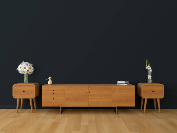 wood sideboard in living room for mockup, 3d rendering - sideboard imagens e fotografias de stock