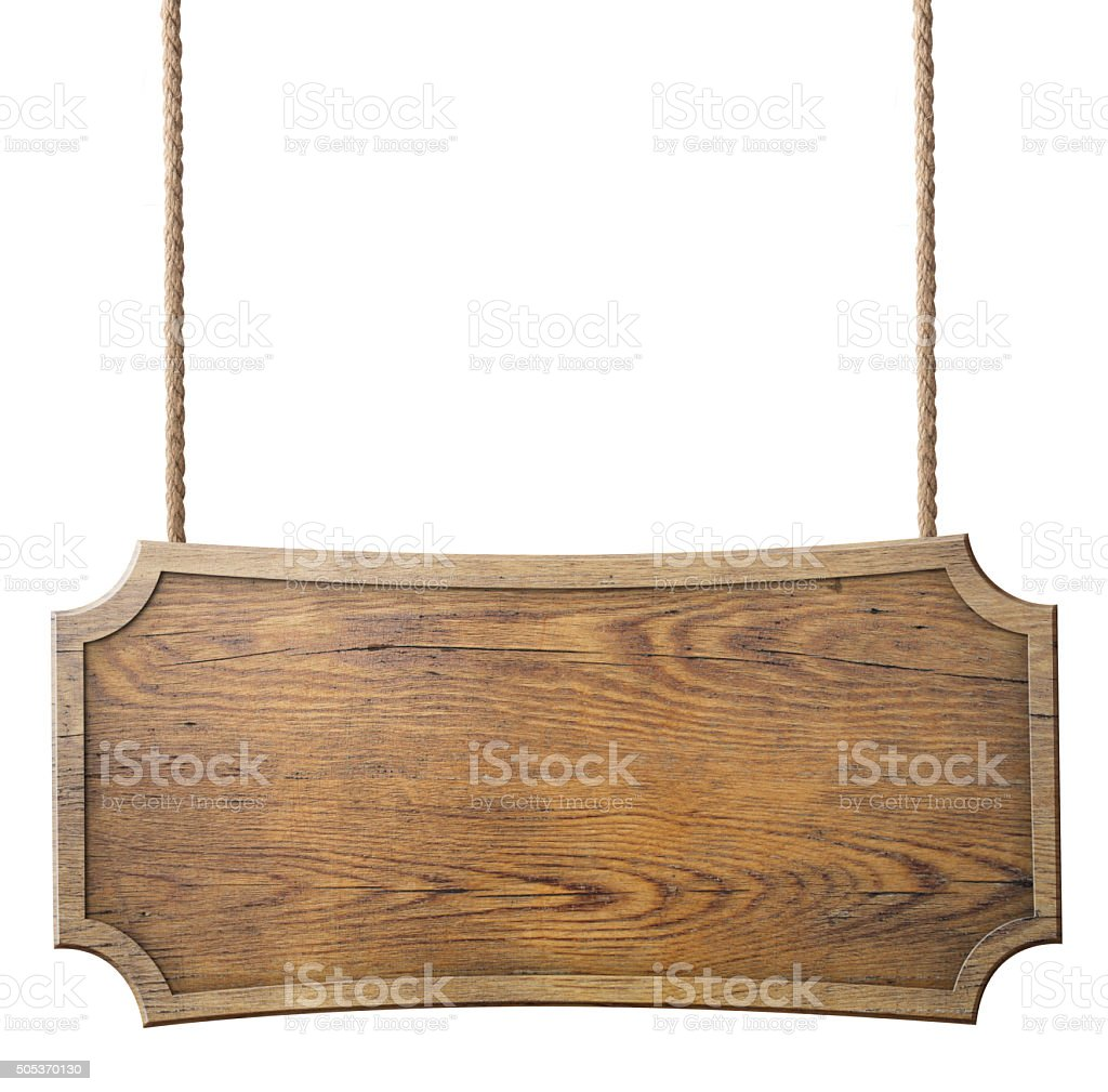 wood sign hanging on rope isolated stock photo