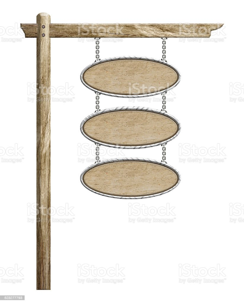 Wood sign hanging suspended with chains on pole stock photo