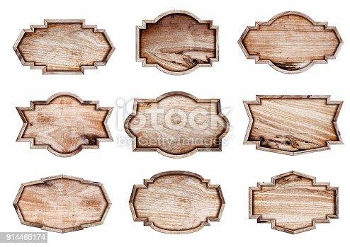 914465180istockphoto Wood sign isolated on white background, 914465174
