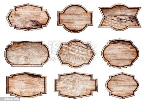 istock Wood sign isolated on white background, 914465180