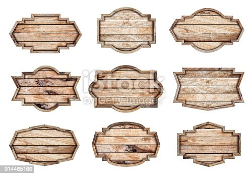 914465180 istock photo Wood sign isolated on white background, With objects clipping path for design work 914465166