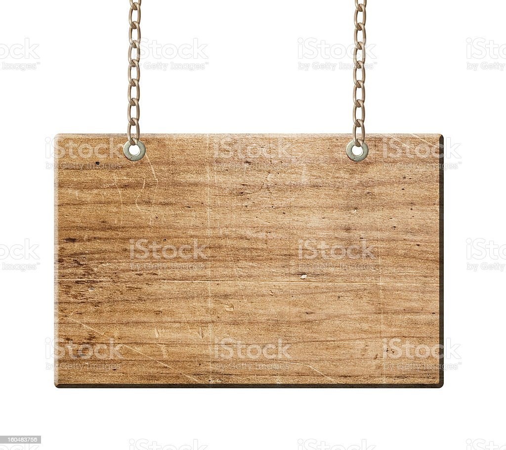 Wood sign isolated, royalty-free stock photo