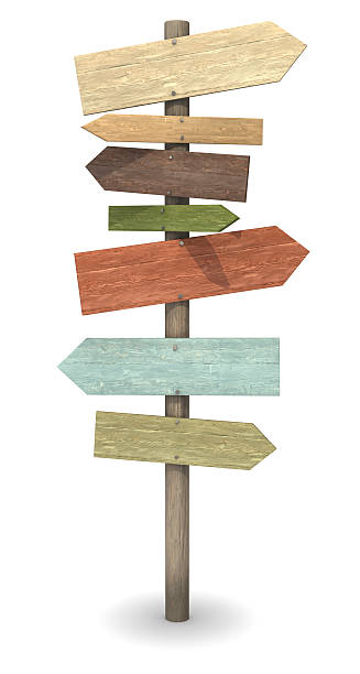 wood sign post - directional sign stock photos and pictures