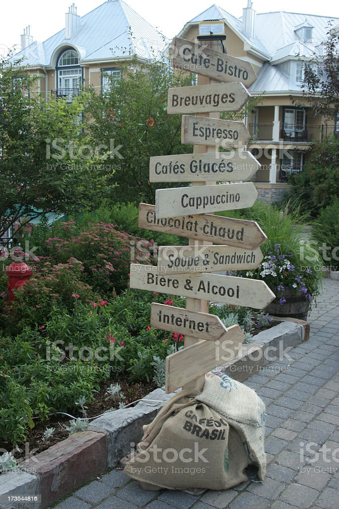 Wood Signs and burlag bags stock photo