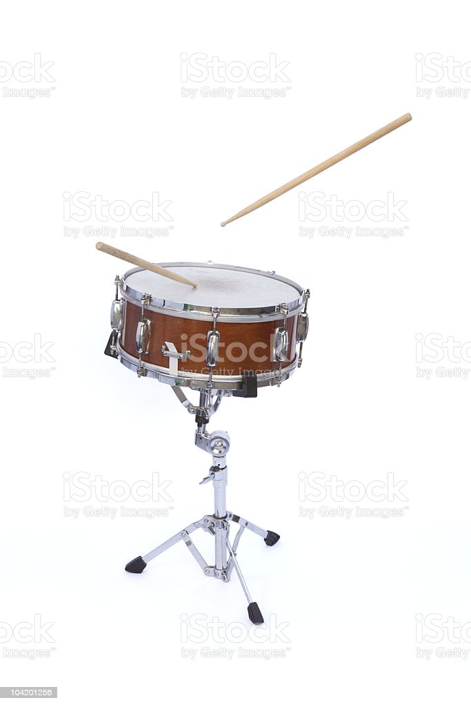 wood snare drum with floating sticks stock photo