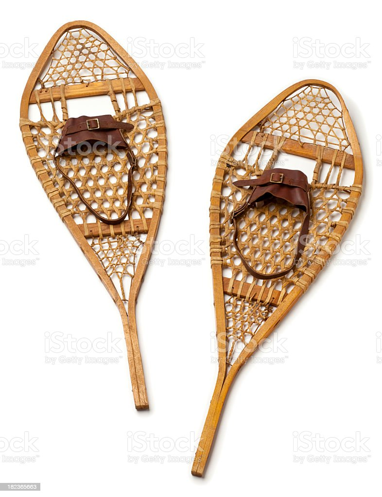 Wood Snowshoes on White Background. royalty-free stock photo