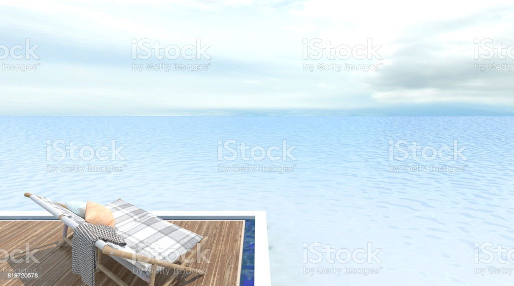 Wood sofa with swimming pool and sea 3d rendering Vacation time Exterior decoration stock photo