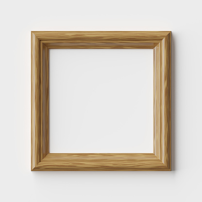 Wood blank square frame for picture or photo on white wall with shadows, decorative wooden picture frame template, art frame mock-up 3D illustration