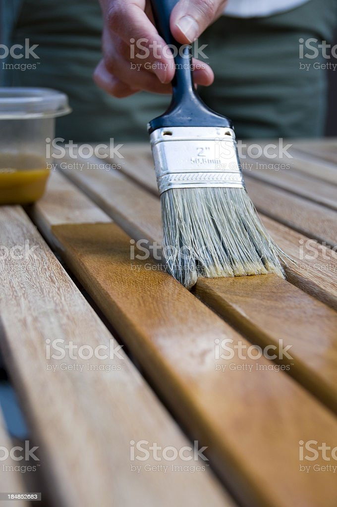 Wood Stain Application stock photo