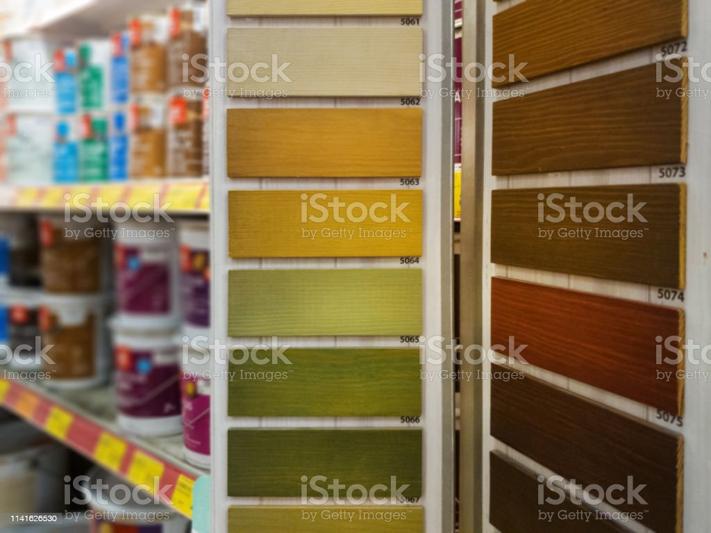 wood stain samples in building material store
