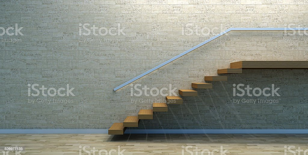 Wood stairs in empty interior stock photo