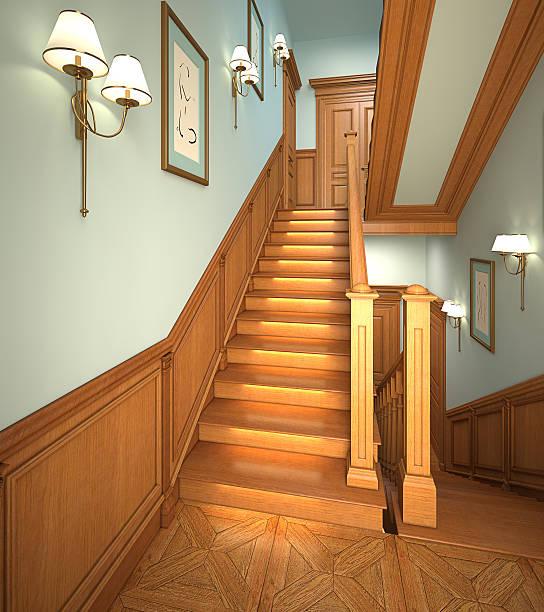 holz treppe im modernen haus. - wandleuchte treppenhaus stock-fotos und bilder