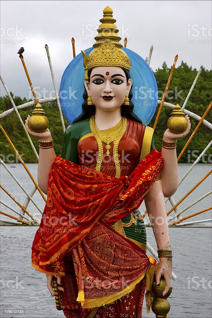 wood statue of a Hinduism  women royalty-free stock photo
