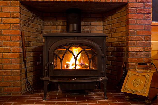 Wood Stove Fire Burning stock photo