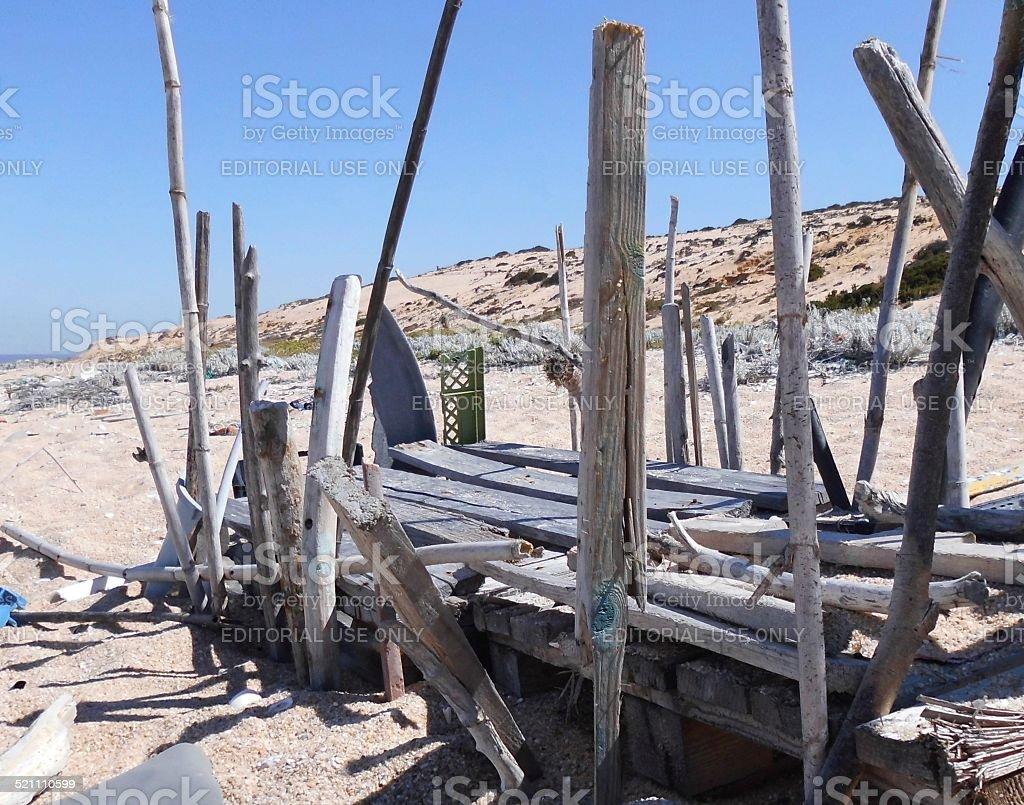 Wood Structure On The Beach stok fotoğrafı