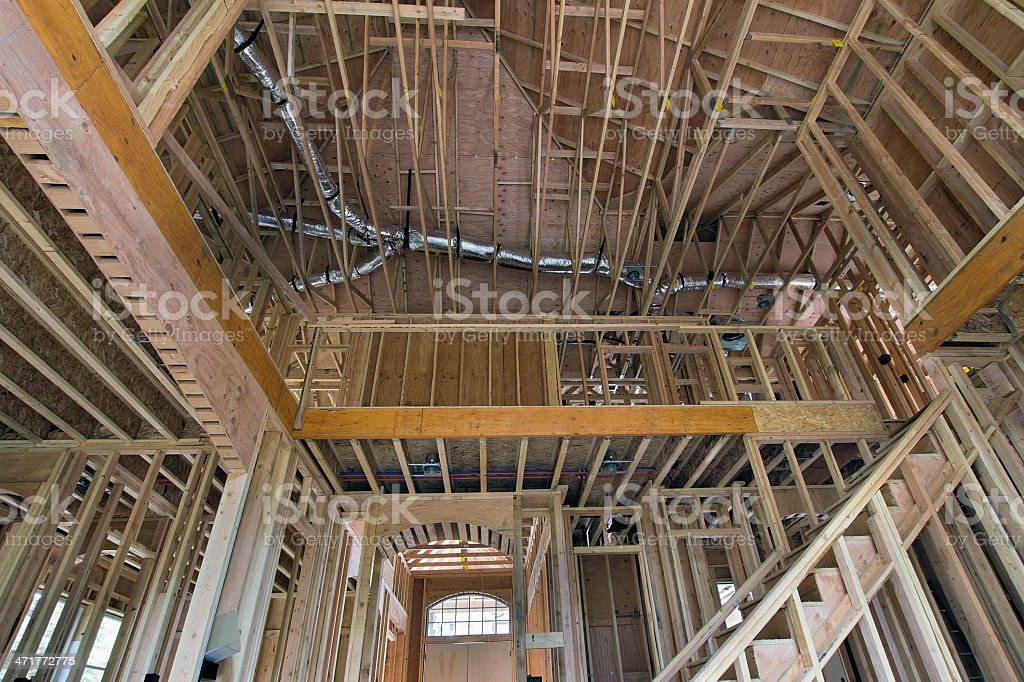 Wood Studs Framing for Two-Storey Home stock photo