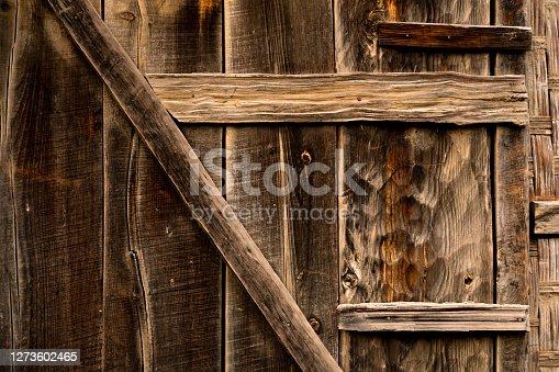 Closeup of door made up of wood having interesting textures & patterns.
