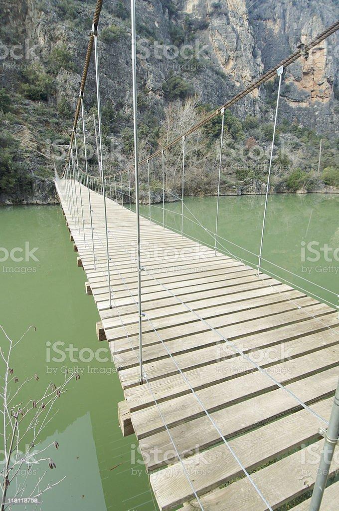 Wood suspension bridge royalty-free stock photo